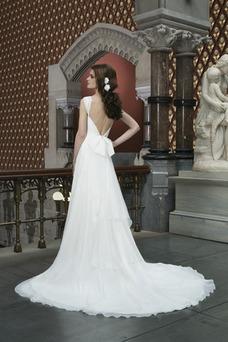 Vestido de novia Elegante Gasa Corte-A Playa Manga corta Espalda Descubierta