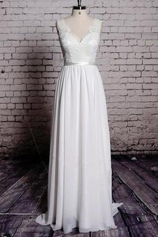 Vestido de novia Playa Apliques Sin mangas Corte-A Escote en V Encaje