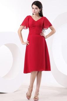 Vestido de dama de honor Escote en V Gasa adulto Natural Oscilación Hasta la Rodilla
