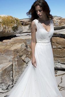 Vestido de novia Sin mangas Corte-A Romántico Playa Cola Capilla Espalda medio descubierto