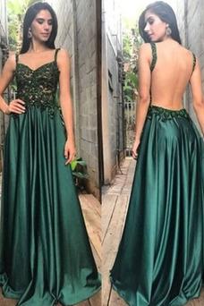 Vestido de fiesta largo primavera Espalda Descubierta Elegante Abalorio