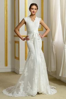 Vestido de novia Natural Alto cubierto Apliques Modesto Capa de encaje