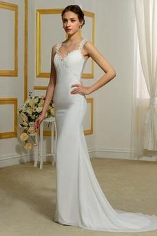 Vestido de novia Tallas pequeñas Playa Volantes Adorno Tiras anchas