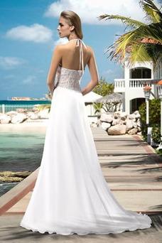 Vestido de novia Playa largo Joya Natural Cremallera Apertura Frontal