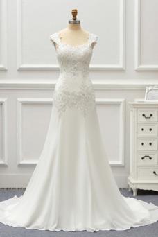 Vestido de novia Gasa Cordón Capa de encaje Natural Escote Cuadrado