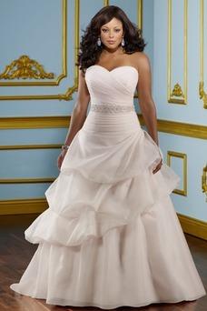 Vestido de novia Sin tirantes Hasta el suelo Blusa plisada Corte princesa