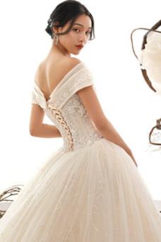 Vestido de novia Abalorio Escote con Hombros caídos tul Natural Formal