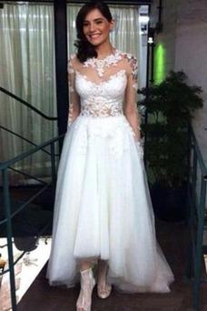 Vestido de novia Asimétrico Dobladillo Natural Pura espalda Asimètrico