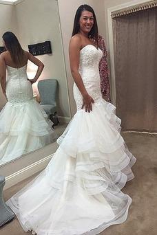 Vestido de novia vendimia Playa Corte Sirena Cremallera Escote Corazón