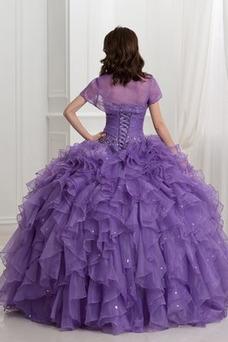 Vestido de quinceañeras Formal Abalorio Hasta el suelo Invierno Espalda Descubierta