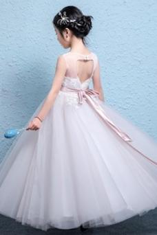 Vestido niña ceremonia Fajas Corte-A Falta Arco Acentuado primavera Natural