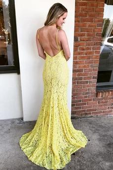 Vestido de fiesta Encaje sexy Natural Corte Recto Encaje Espalda Descubierta