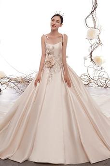 Vestido de novia Drapeado Escote de Tirantes Espaguetis Natural Satén