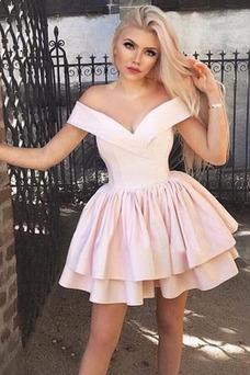 Vestido de cóctel Escote con Hombros caídos Manga corta Corte-A Capa Multi