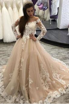 Vestido de novia Manga larga Pera Encaje Corte-A Natural Barco