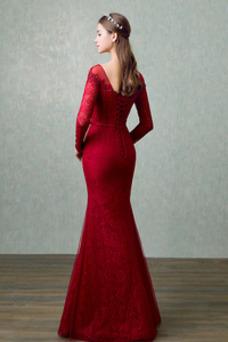 Vestido de noche Elegante Corte Recto Hasta el suelo Capa de encaje
