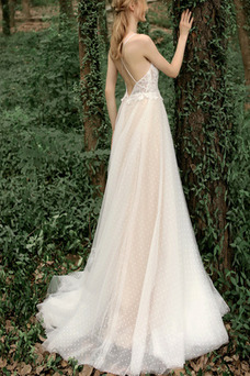 Vestido de novia Sencillo Corte-A Cola Capilla Fuera de casa Baja escote en V