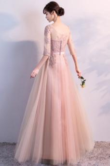 Vestido de dama de honor Encaje Hasta el Tobillo Encaje Barco Corte-A Natural