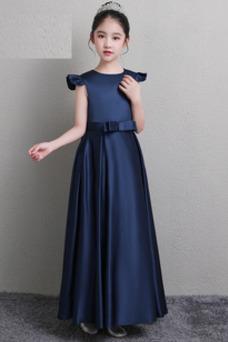 Vestido niña ceremonia Sin mangas Drapeado Joya Cremallera Falta primavera
