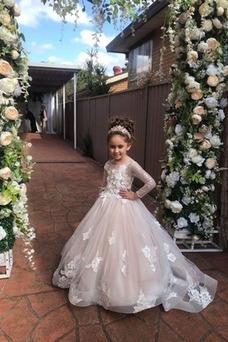 Vestido niña ceremonia Corte-A Natural Cremallera largo Pluma Joya