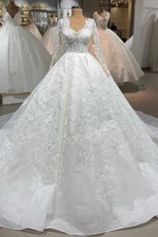 Vestido de novia vendimia Cordón Mangas Illusion Triángulo Invertido