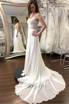 Vestido de novia Espalda Descubierta Elegante Baja escote en V Drapeado