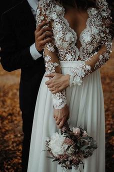 Vestido de novia sexy Playa Transparente Flores Cremallera tul