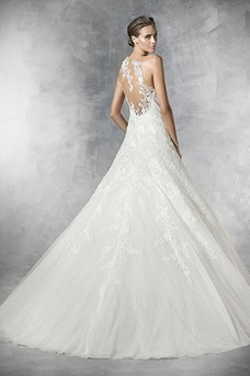 Vestido de novia Pura espalda Cola Capilla Apliques Sala Natural Corte-A