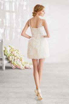 Vestido de novia Barco Corte Recto Glamouroso Fuera de casa Escalonado