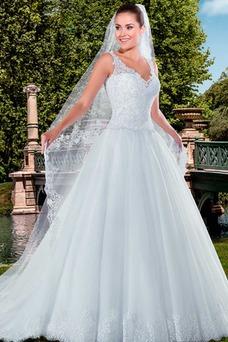 Vestido de novia Con velo Cintura Baja Moderno largo Sin mangas Corte-A