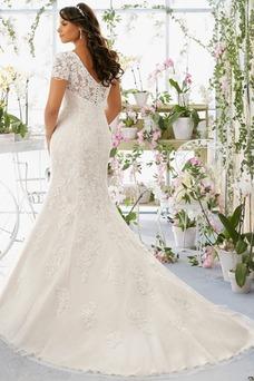 Vestido de novia Corte Sirena Encaje Cremallera Manga tapada primavera