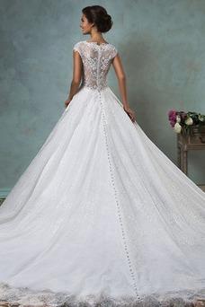 Vestido de novia Manga corta Iglesia Corte-A Cristal Encaje Clasicos