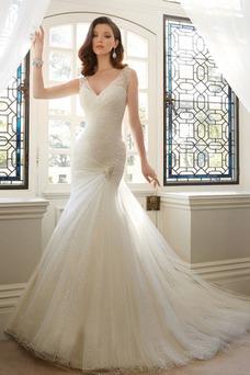 Vestido de novia Corte Sirena tul primavera Sala Natural Cordón