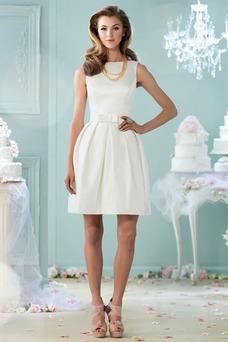 Vestido de novia Satén Sin mangas Espalda medio descubierto Barco Natural