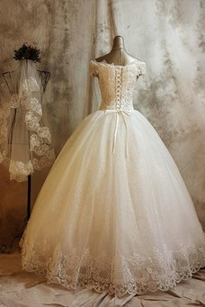 Vestido de novia Invierno Iglesia Clasicos Natural Encaje Abalorio