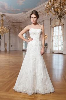 Vestido de novia Escote de Tirantes Espaguetis Abalorio Natural Elegante