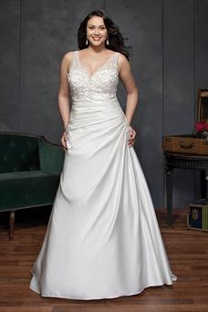 Vestido de novia Corte-A Cola Catedral Satén Sala primavera Escote en V