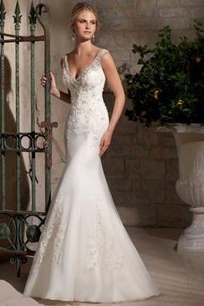 Vestido de novia Sala Otoño Corte Sirena Sin mangas Pura espalda Natural