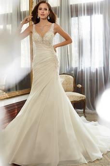 Vestido de novia Corte Sirena Otoño Escote en V Colores Espalda medio descubierto