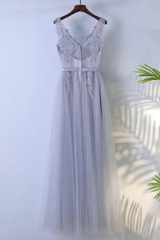 Vestido de dama de honor Hasta el suelo Corte-A Sin mangas Verano Capa Multi