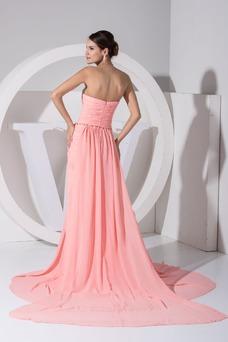 Vestido de fiesta Gasa Corte-A Elegante Abalorio Natural Sin mangas
