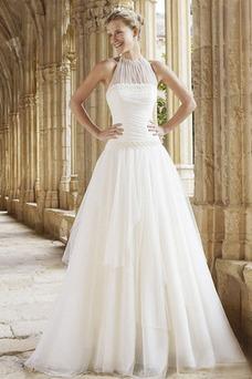 Vestido de novia Escote halter Otoño Fuera de casa Cremallera Sin mangas