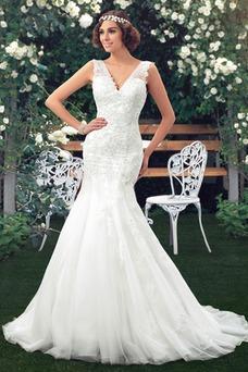 Vestido de novia largo Fuera de casa Natural Encaje Abalorio Escote en V