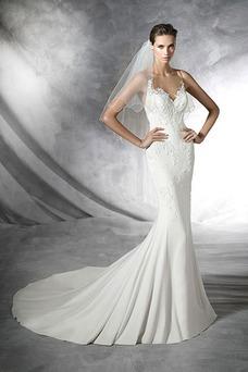 Vestido de novia Encaje largo Corte Sirena Natural Escote Corazón Sin mangas