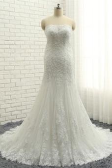 Vestido de novia Corte Sirena Apliques Sin mangas Cola Capilla Capa de encaje