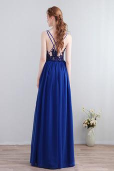 Vestido de dama de honor Hasta el Tobillo Falta Blusa plisada Escote en V Sencillo