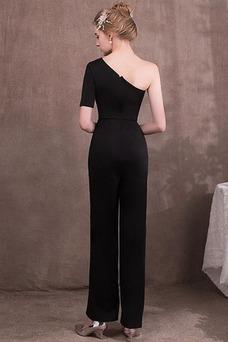 Vestido de noche Elegante Un sólo hombro Cremallera Hasta el Tobillo