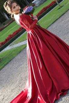 Vestido de fiesta primavera Encaje Mangas Illusion Cremallera Encaje