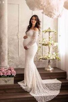 Vestido de novia Embarazadas primavera Cremallera Encaje Fuera de casa