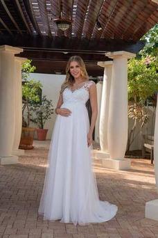 Vestido de novia Embarazadas Sin mangas Imperio largo Sencillo Drapeado